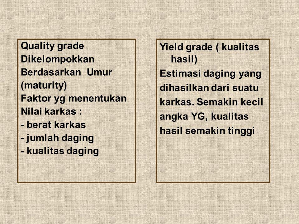 Quality grade Dikelompokkan. Berdasarkan Umur. (maturity) Faktor yg menentukan. Nilai karkas :