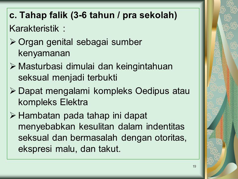 c. Tahap falik (3-6 tahun / pra sekolah) Karakteristik :