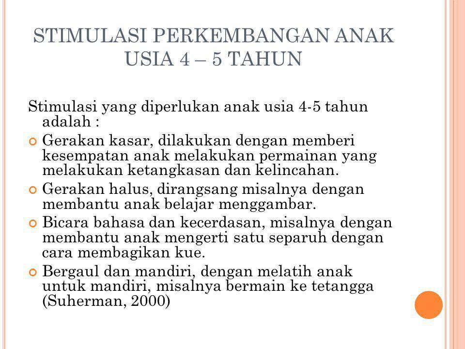 STIMULASI PERKEMBANGAN ANAK USIA 4 – 5 TAHUN