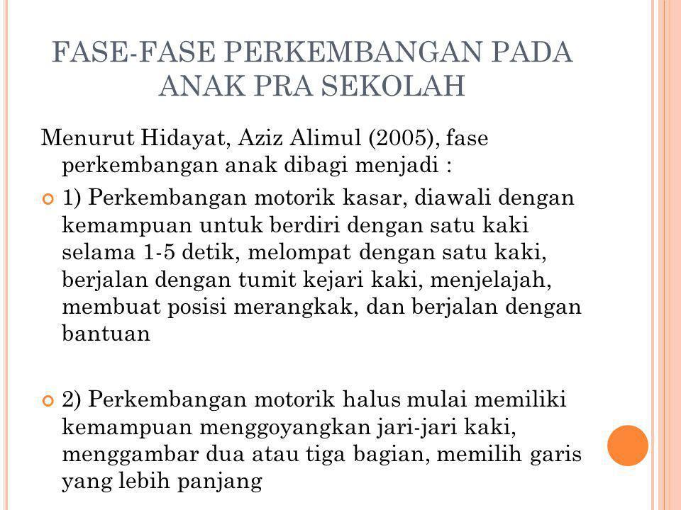 FASE-FASE PERKEMBANGAN PADA ANAK PRA SEKOLAH