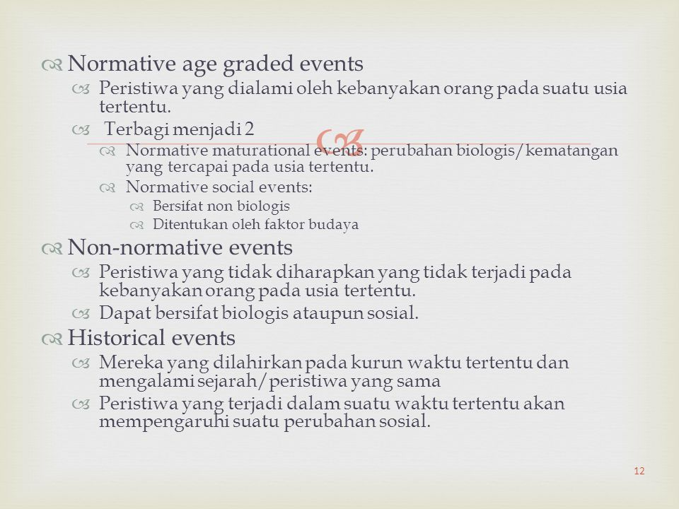 Normative age graded events