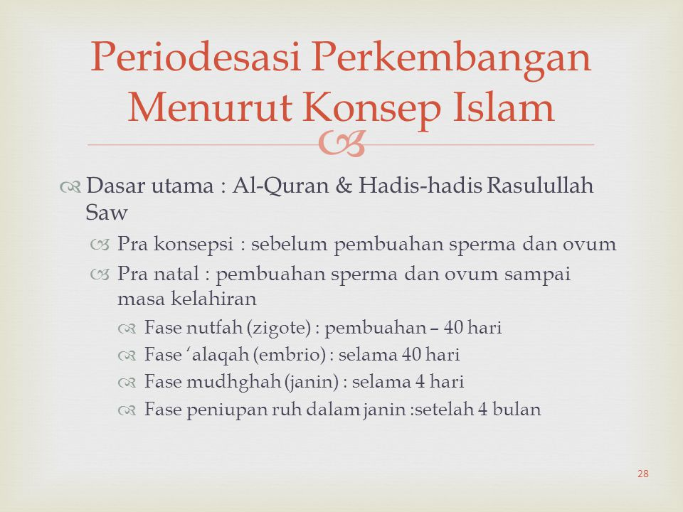 Periodesasi Perkembangan Menurut Konsep Islam