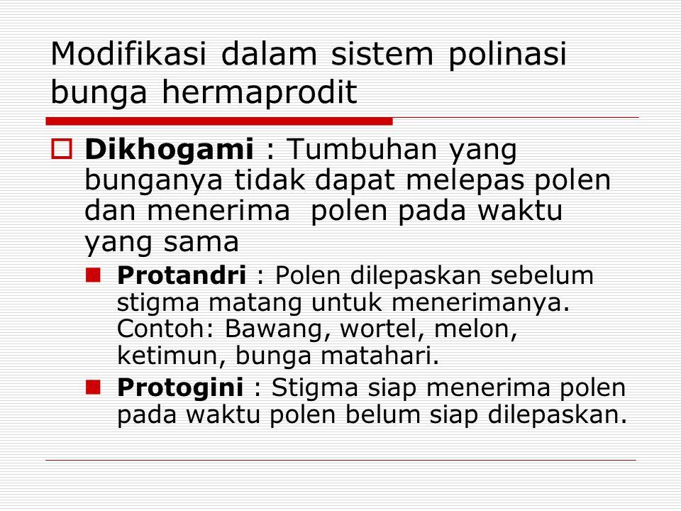 Modifikasi dalam sistem polinasi bunga hermaprodit