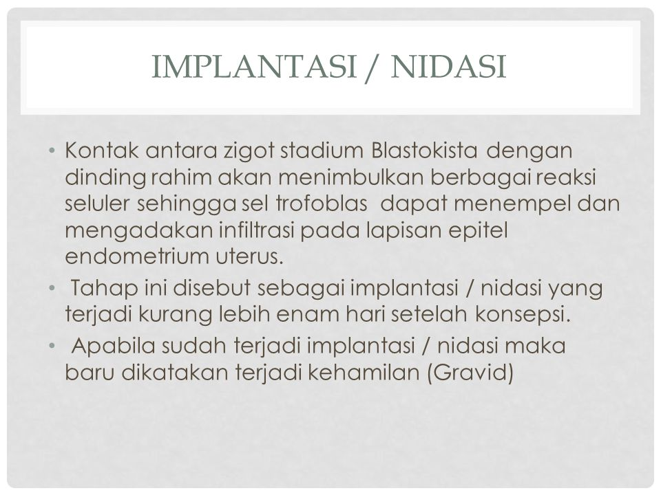 Implantasi / Nidasi