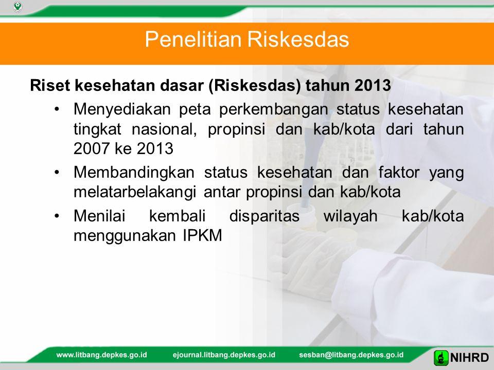 Penelitian Riskesdas Riset kesehatan dasar (Riskesdas) tahun 2013