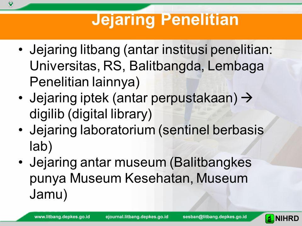 Jejaring Penelitian Jejaring litbang (antar institusi penelitian: Universitas, RS, Balitbangda, Lembaga Penelitian lainnya)