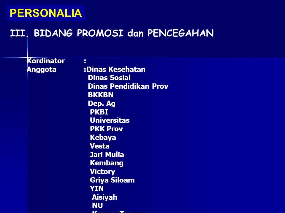 PERSONALIA III. BIDANG PROMOSI dan PENCEGAHAN Kordinator :