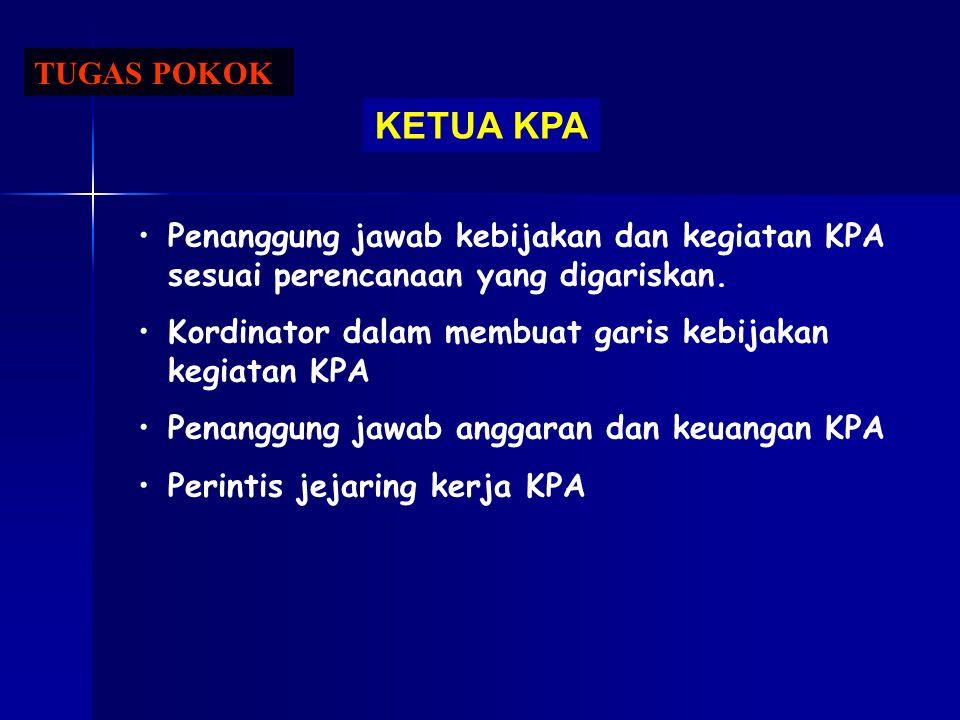 TUGAS POKOK KETUA KPA. Penanggung jawab kebijakan dan kegiatan KPA sesuai perencanaan yang digariskan.
