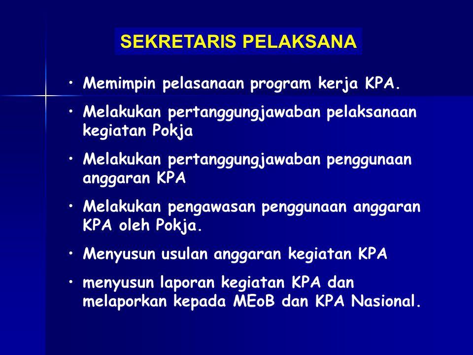 SEKRETARIS PELAKSANA Memimpin pelasanaan program kerja KPA.