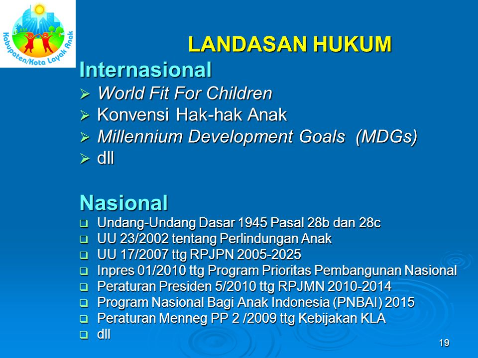 LANDASAN HUKUM Internasional Nasional World Fit For Children