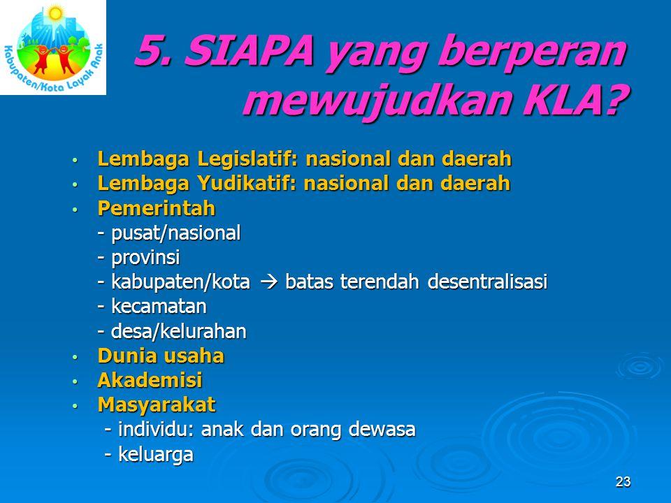 5. SIAPA yang berperan mewujudkan KLA