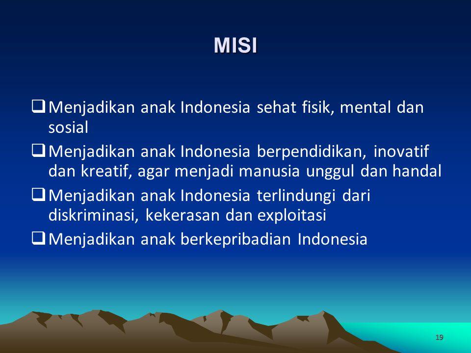 MISI Menjadikan anak Indonesia sehat fisik, mental dan sosial