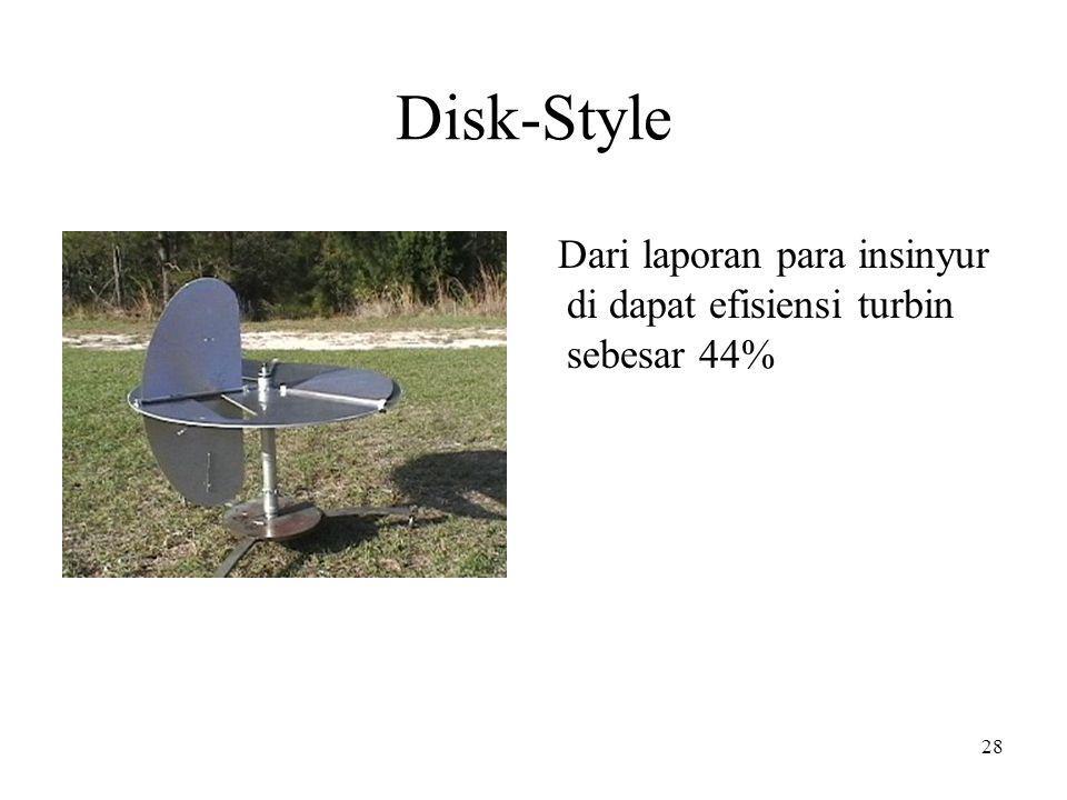 Disk-Style Dari laporan para insinyur di dapat efisiensi turbin sebesar 44%