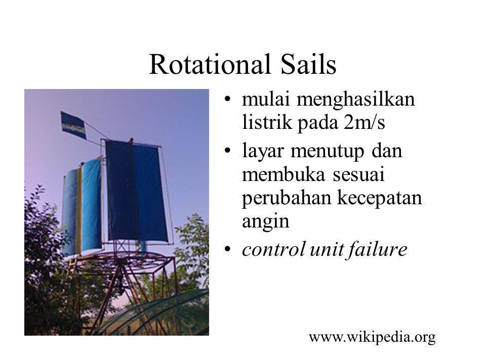 Rotational Sails mulai menghasilkan listrik pada 2m/s