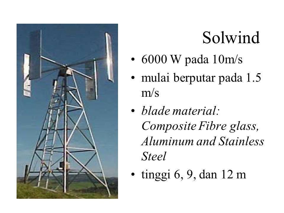 Solwind 6000 W pada 10m/s mulai berputar pada 1.5 m/s