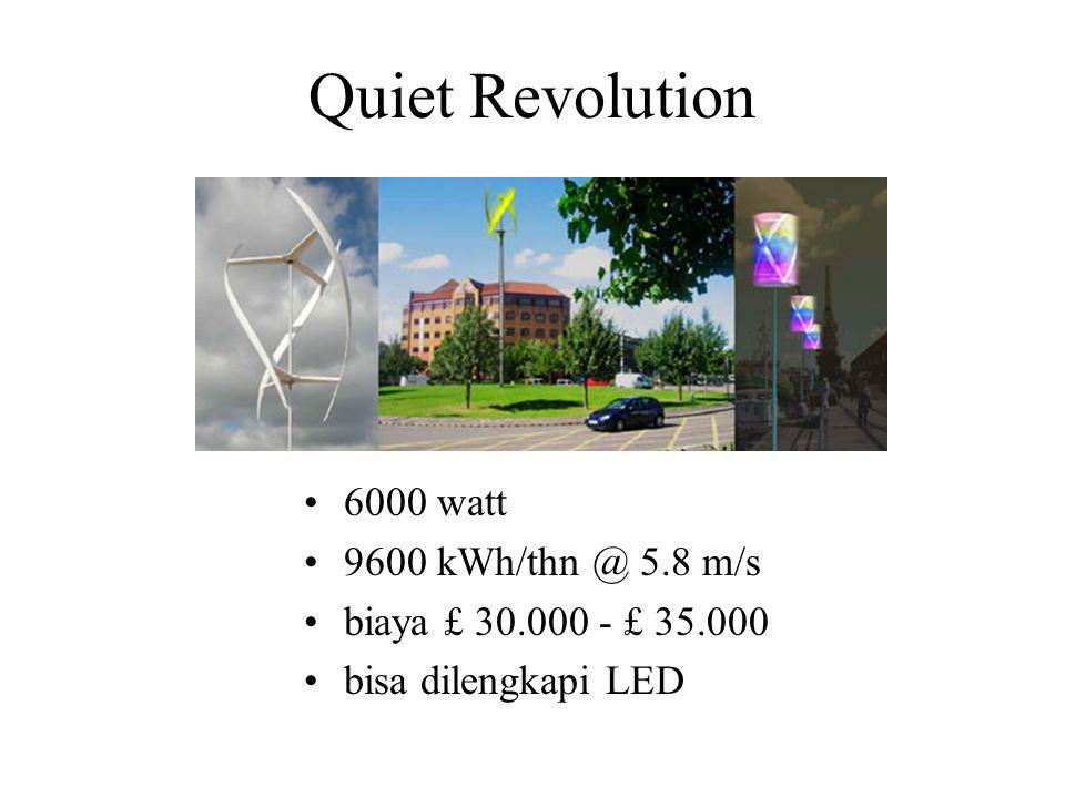 Quiet Revolution 6000 watt 9600 kWh/thn @ 5.8 m/s