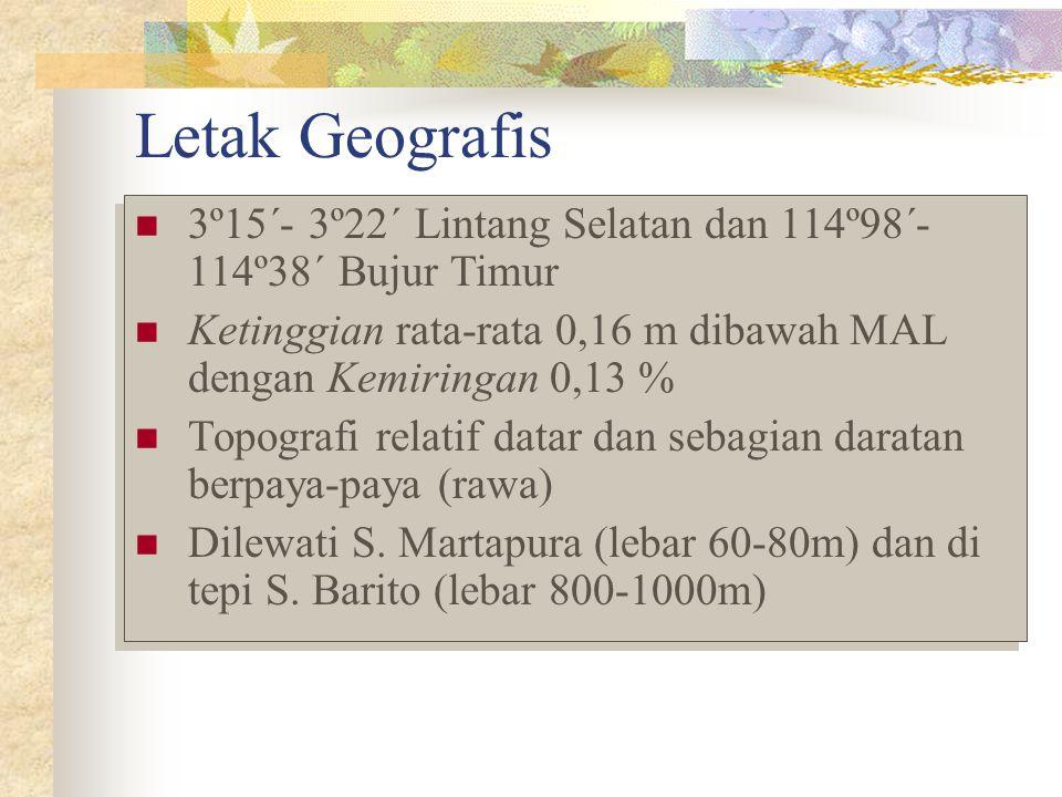 Letak Geografis 3º15´- 3º22´ Lintang Selatan dan 114º98´- 114º38´ Bujur Timur. Ketinggian rata-rata 0,16 m dibawah MAL dengan Kemiringan 0,13 %