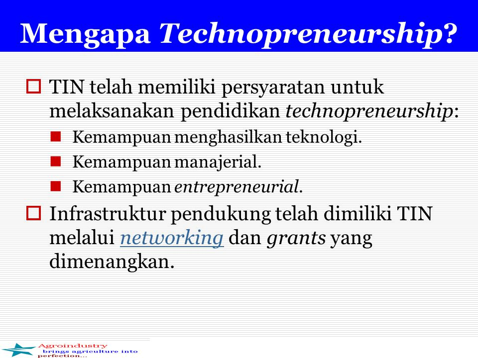Mengapa Technopreneurship