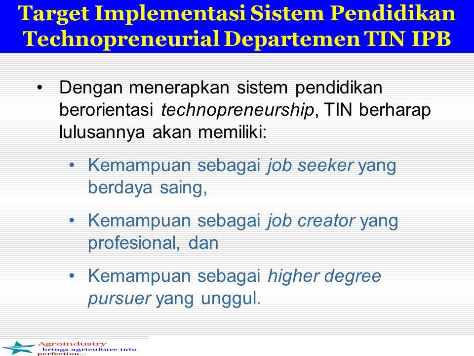 Target Implementasi Sistem Pendidikan Technopreneurial Departemen TIN IPB