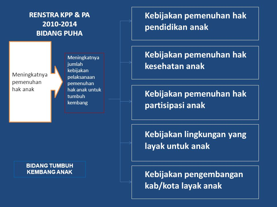RENSTRA KPP & PA 2010-2014 BIDANG PUHA BIDANG TUMBUH KEMBANG ANAK