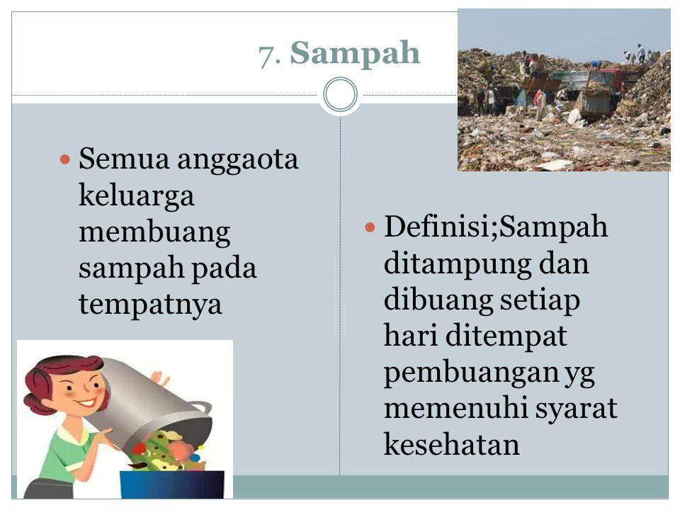 7. Sampah Semua anggaota keluarga membuang sampah pada tempatnya