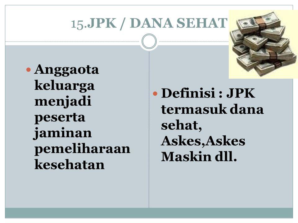 15.JPK / DANA SEHAT Anggaota keluarga menjadi peserta jaminan pemeliharaan kesehatan.