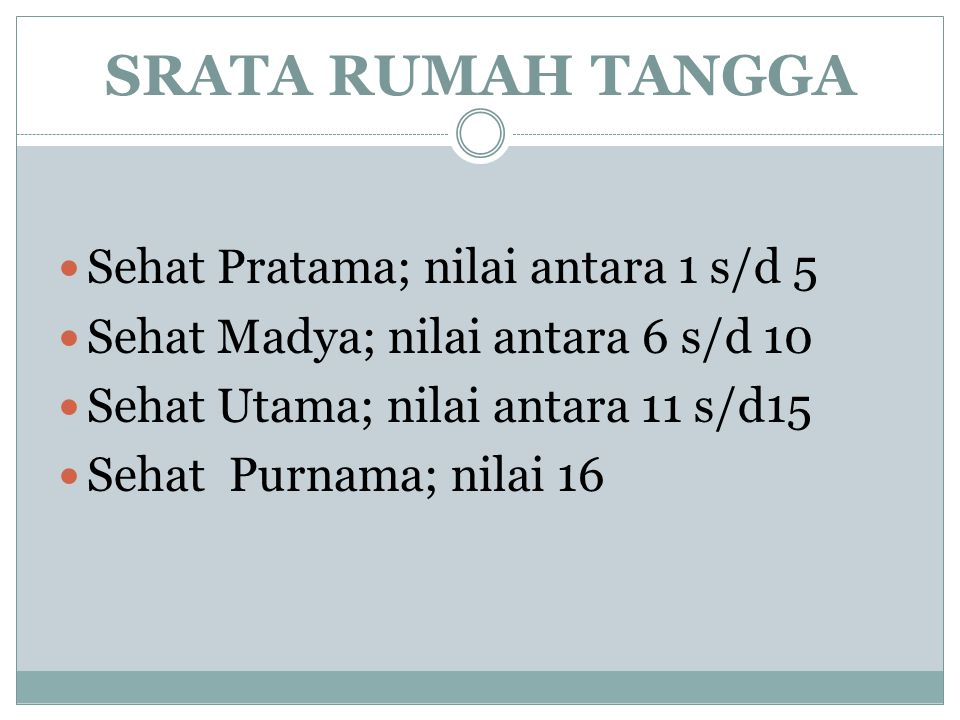SRATA RUMAH TANGGA Sehat Pratama; nilai antara 1 s/d 5