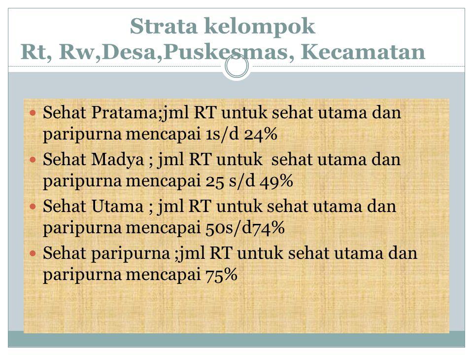 Strata kelompok Rt, Rw,Desa,Puskesmas, Kecamatan