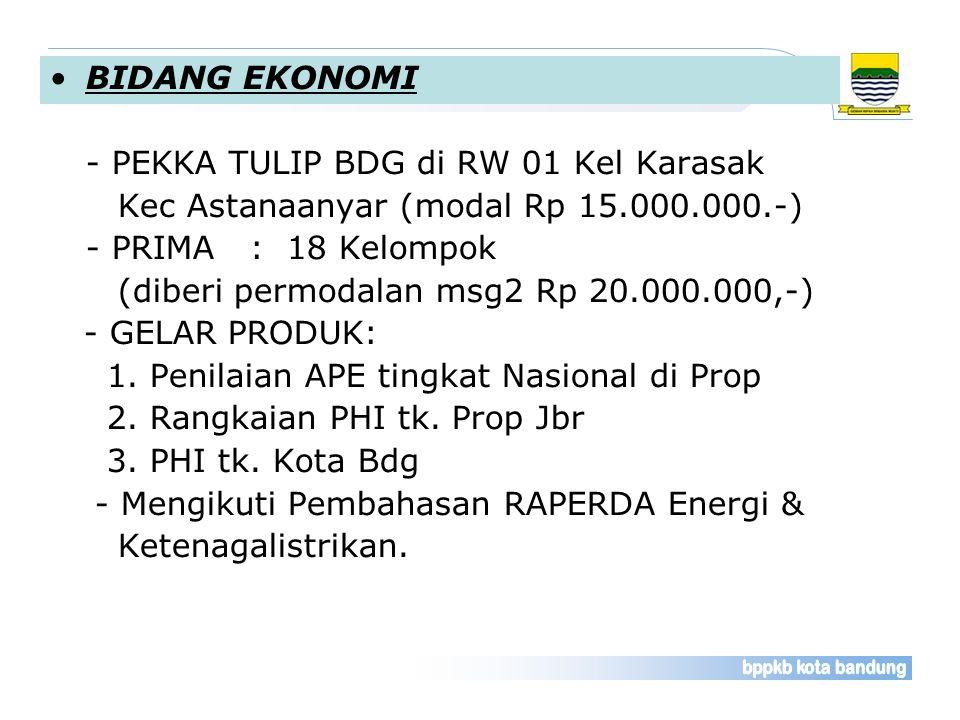 BIDANG EKONOMI - PEKKA TULIP BDG di RW 01 Kel Karasak. Kec Astanaanyar (modal Rp 15.000.000.-) - PRIMA : 18 Kelompok.