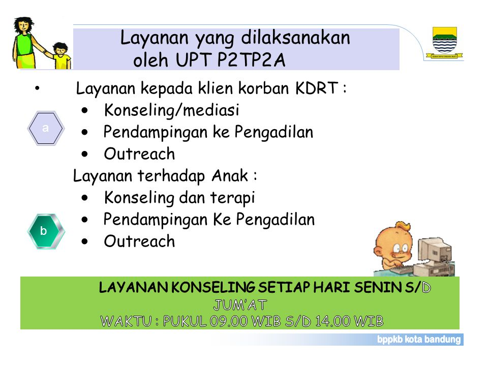 Layanan yang dilaksanakan oleh UPT P2TP2A