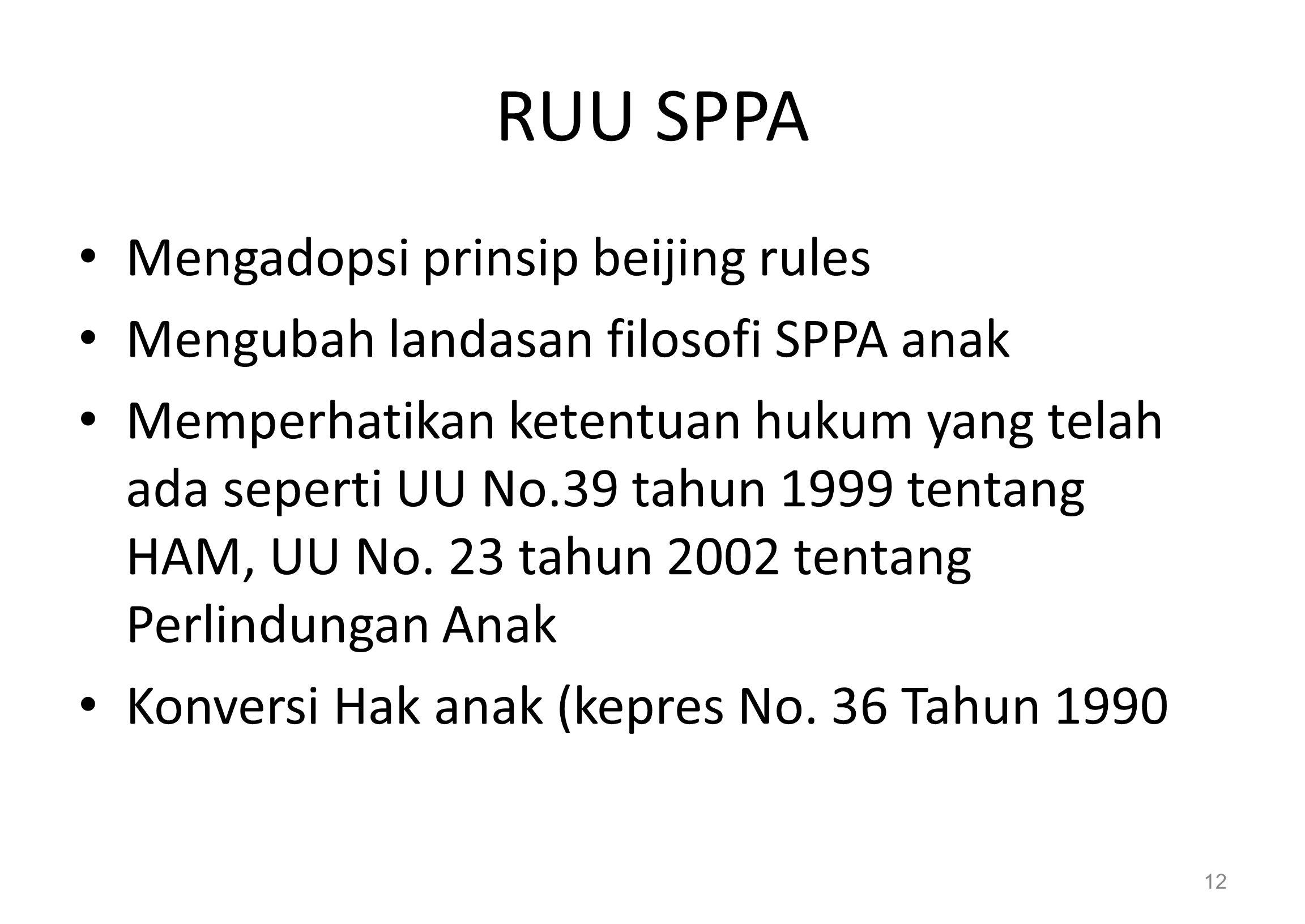 RUU SPPA Mengadopsi prinsip beijing rules