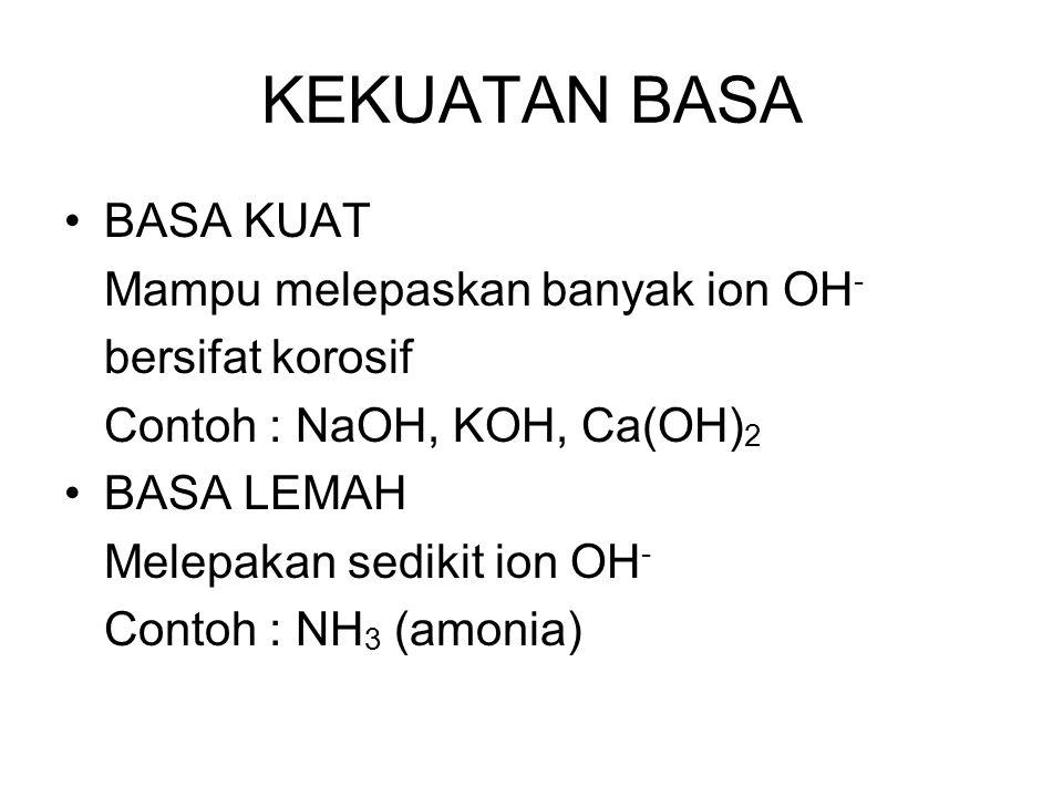 KEKUATAN BASA BASA KUAT Mampu melepaskan banyak ion OH-