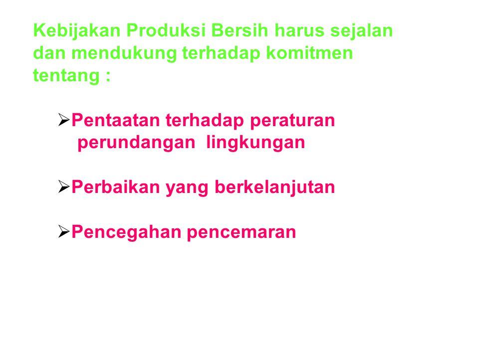 Kebijakan Produksi Bersih harus sejalan dan mendukung terhadap komitmen tentang :