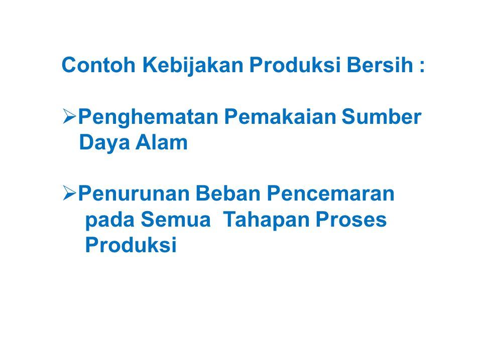 Contoh Kebijakan Produksi Bersih :