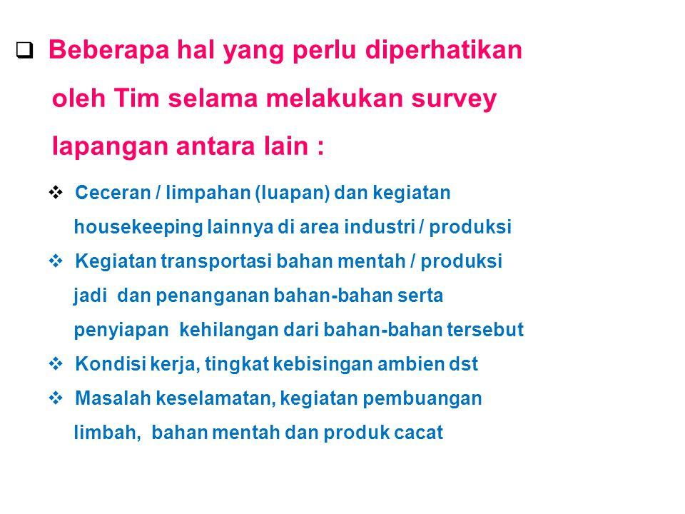 oleh Tim selama melakukan survey lapangan antara lain :