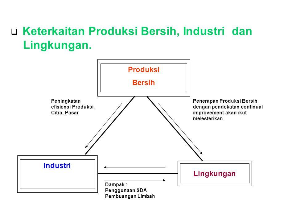 Lingkungan. Keterkaitan Produksi Bersih, Industri dan Produksi Bersih