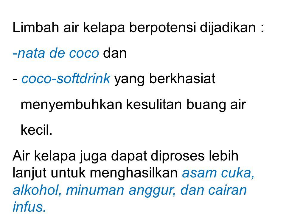 Limbah air kelapa berpotensi dijadikan :