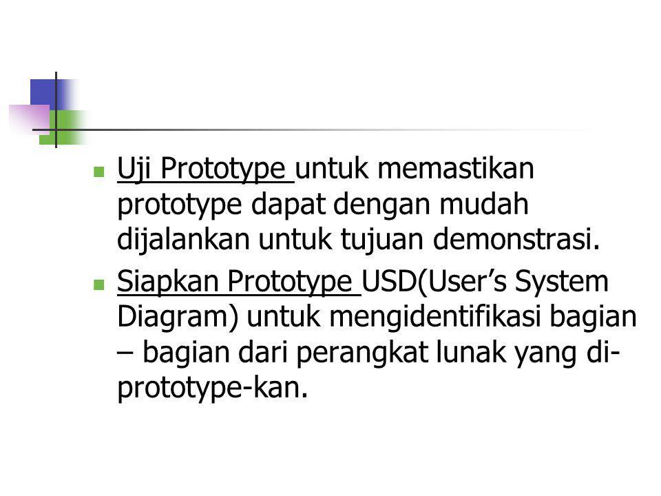 Uji Prototype untuk memastikan prototype dapat dengan mudah dijalankan untuk tujuan demonstrasi.