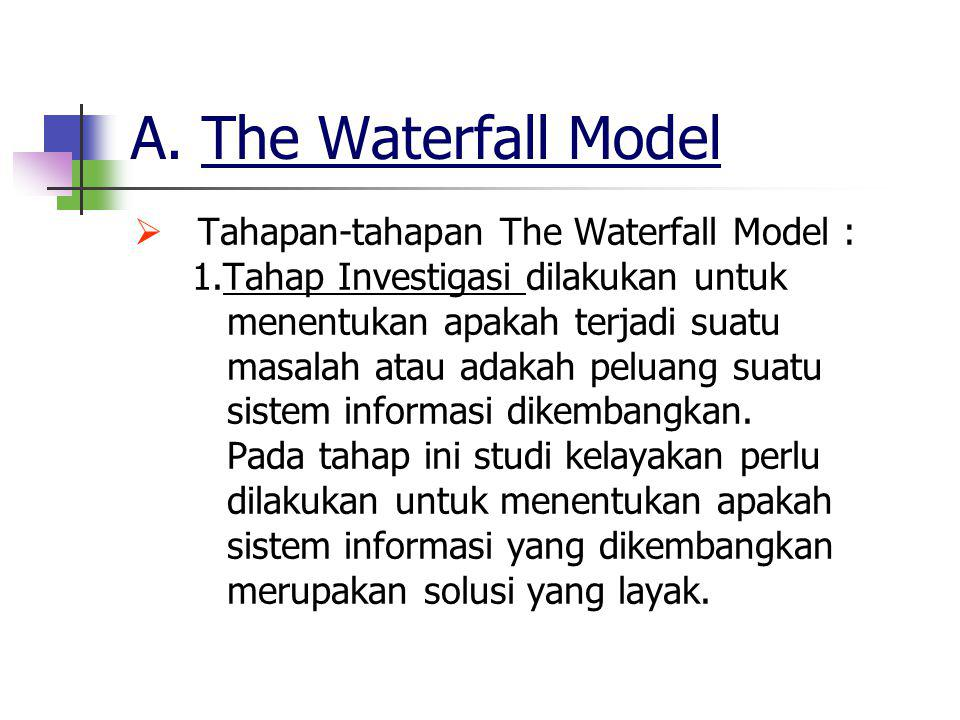 A. The Waterfall Model Tahapan-tahapan The Waterfall Model :