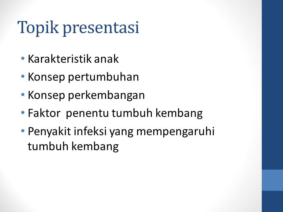 Topik presentasi Karakteristik anak Konsep pertumbuhan