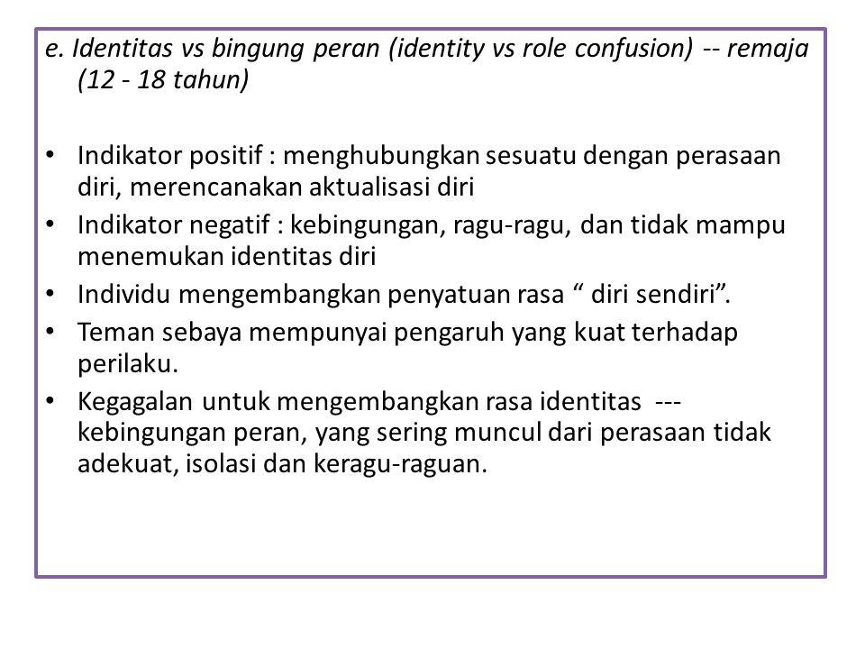 e. Identitas vs bingung peran (identity vs role confusion) -- remaja (12 - 18 tahun)