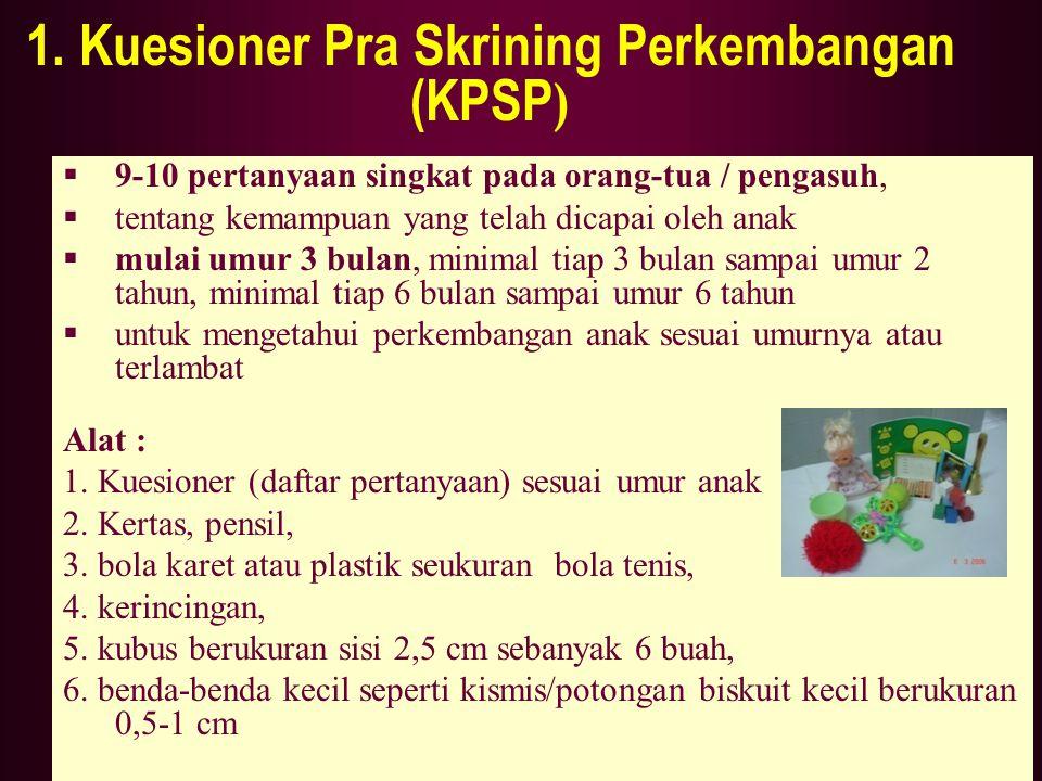 1. Kuesioner Pra Skrining Perkembangan (KPSP)
