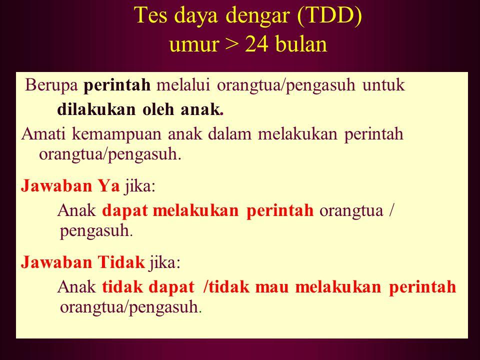 Tes daya dengar (TDD) umur > 24 bulan