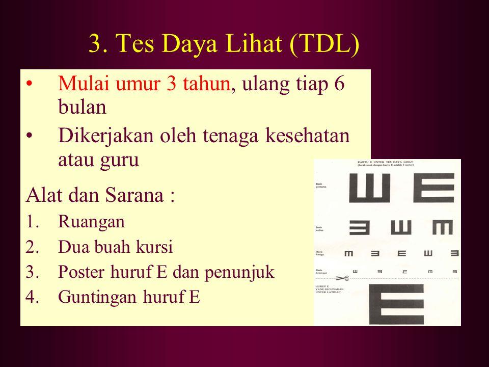 3. Tes Daya Lihat (TDL) Mulai umur 3 tahun, ulang tiap 6 bulan