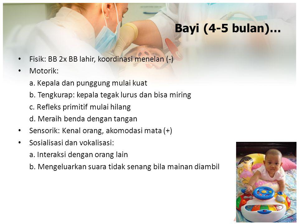 Bayi (4-5 bulan)… Fisik: BB 2x BB lahir, koordinasi menelan (-)