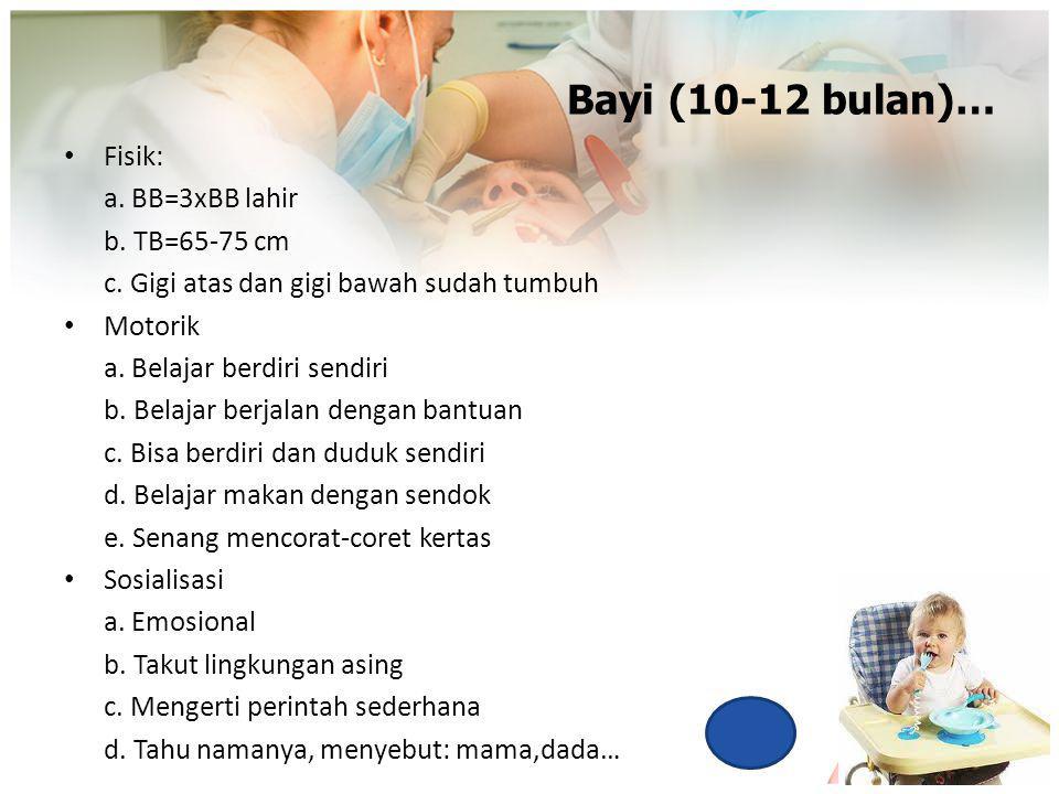 Bayi (10-12 bulan)… Fisik: a. BB=3xBB lahir b. TB=65-75 cm