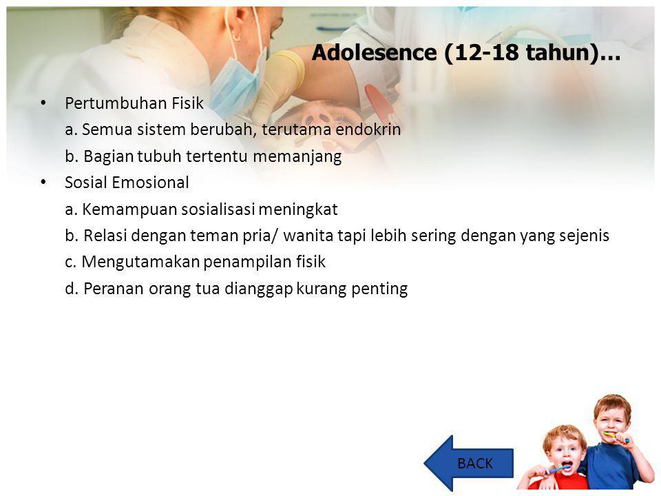 Adolesence (12-18 tahun)… Pertumbuhan Fisik