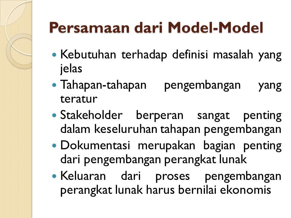 Persamaan dari Model-Model