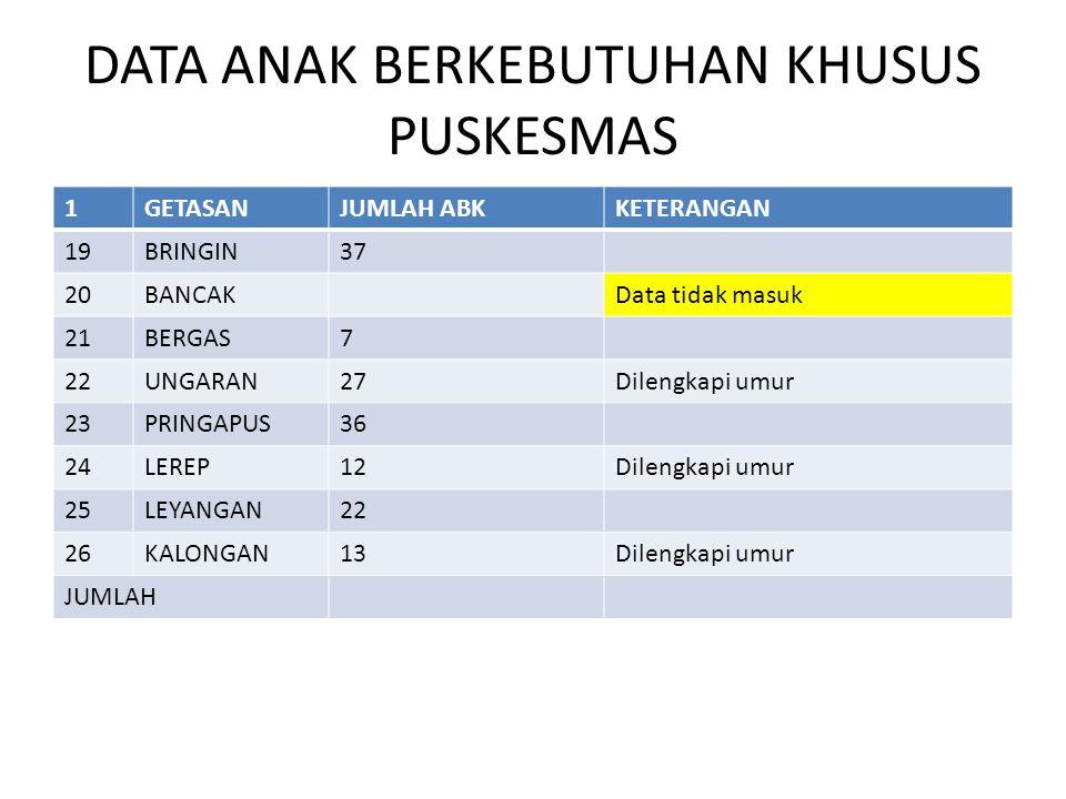 DATA ANAK BERKEBUTUHAN KHUSUS PUSKESMAS