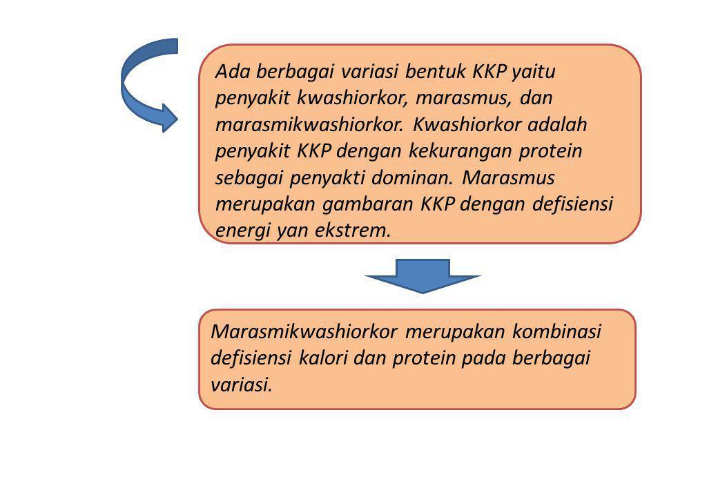 Ada berbagai variasi bentuk KKP yaitu penyakit kwashiorkor, marasmus, dan marasmikwashiorkor. Kwashiorkor adalah penyakit KKP dengan kekurangan protein sebagai penyakti dominan. Marasmus merupakan gambaran KKP dengan defisiensi energi yan ekstrem.